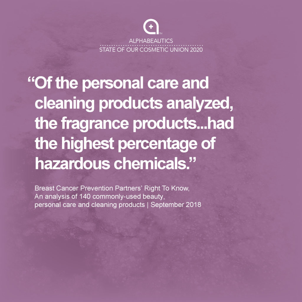 """""""Of the personal care and cleaning products analyzed, the fragrance products...had the highest percentage of hazardous chemicals."""" - Breast Cancer Prevention Partners' Right To Know, Analysis of 140 commonly-used beauty products, Sept 2018"""