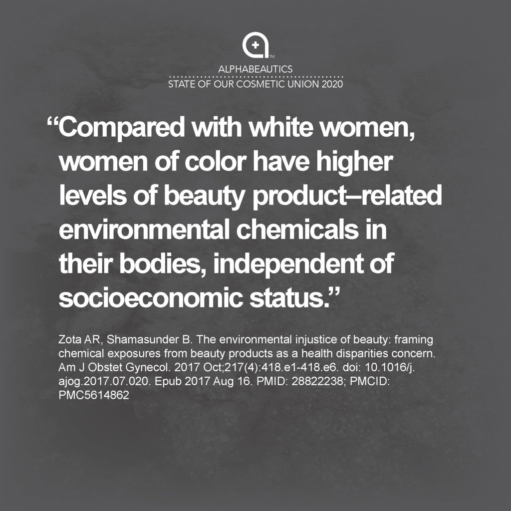 """""""Compared with white women, women of color have higher levels of beauty product–related environmental chemicals in their bodies, independent of socioeconomic status."""""""