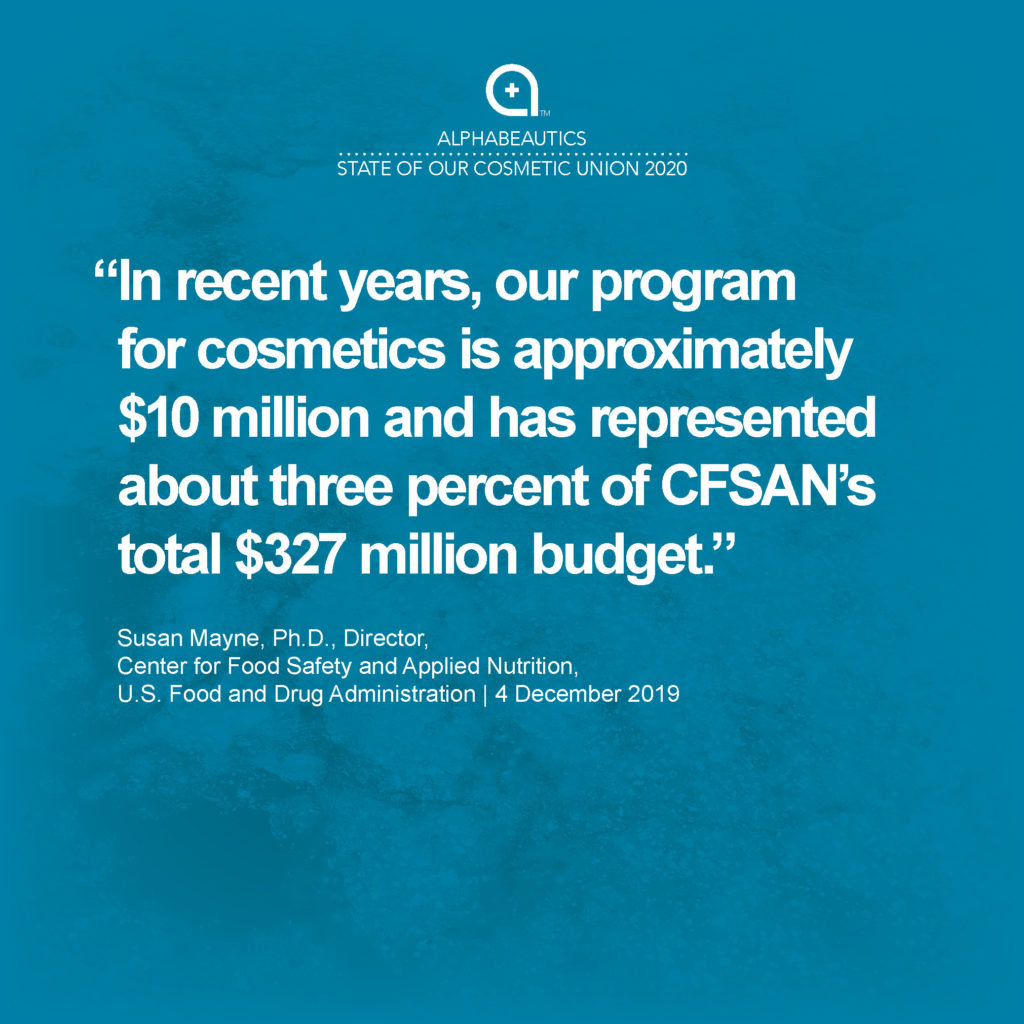 """""""In recent years, our program for cosmetics is approximately $10 million and has represented about three percent of CFSAN's total $327 million budget."""" - Susan Mayne, Ph.D., Director, Center for Food Safety and Applied Nutrition, U.S. Food and Drug Administration"""