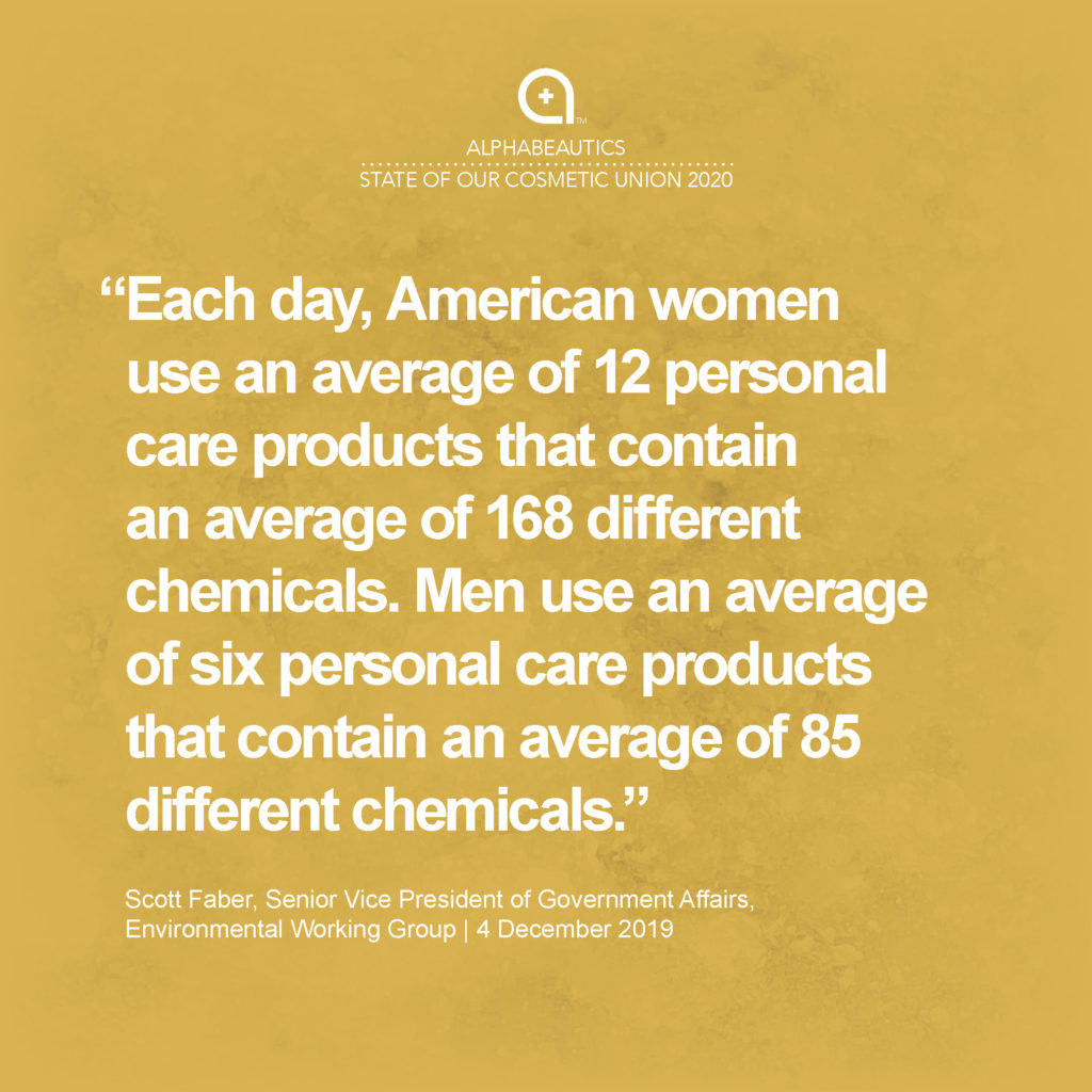"""""""Each day, American women use an average of 12 personal care products that contain an average of 168 different chemicals. Men use an average of six personal care products that contain an average of 85 different chemicals."""" - Scott Faber, Senior Vice President, Government Affairs, EWG"""